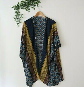 Daniel-Rainn-Short-Sleeve-Sheer-Floral-Open-Drape-Kimono-Style-Top-S-Small-Blue