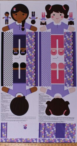 """23.5/"""" X 44/"""" Panel Toy Dolls Girls of the World Kids Cotton Fabric D472.25"""