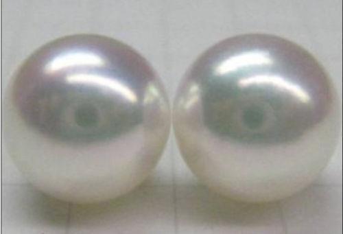 Paire de AAA 12-13 mm énorme South Sea véritable parfait Blanc Pearl Earring 14K