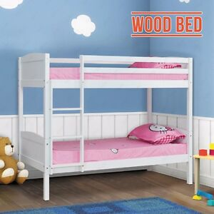 2 3ft single size white solid pine bunk bed wood wooden - White and pine bedroom furniture ...