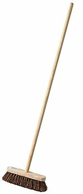 Garden Broom with Nailed Handle 10 inch Semi Stiff Bassine Sweeping Brush