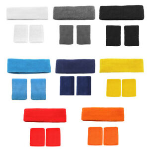 HonnêTeté Sports Sweat Band Bracelet Bandeau Set Squash Tennis Badminton Gym Yoga-afficher Le Titre D'origine RéTréCissable