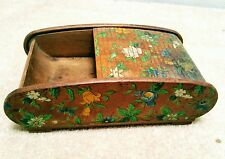 ROLL TOP TREEN BOX HAND PAINTED FLOWERS ANTIQUE
