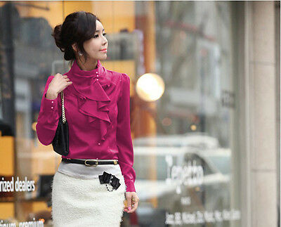 Korea OL Style Lady Stand Collar Ruffles Flounce Shrug Blouse Top Size XS S M L