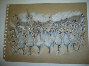 Dessin A La Craie dessin a la craie signe 1950 danseuses danse | ebay