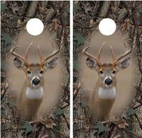 Whitetail Buck Camo oak Ambush Border Cornhole Board Decal Wrap Wraps