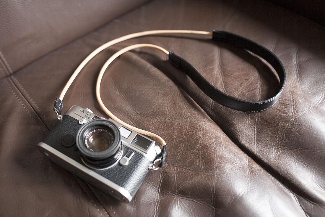 Handmade Genuine Real Leather Camera Strap Neck Strap for Film Camera Evil Camera Black 01-097