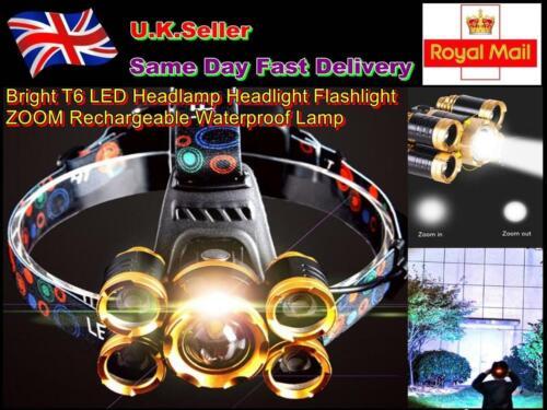 Bright T6 LED Headlamp Headlight Flashlight ZOOM Rechargeable Waterproof Lamp