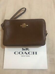 Coach-Double-Zip-Brown-Wristlet