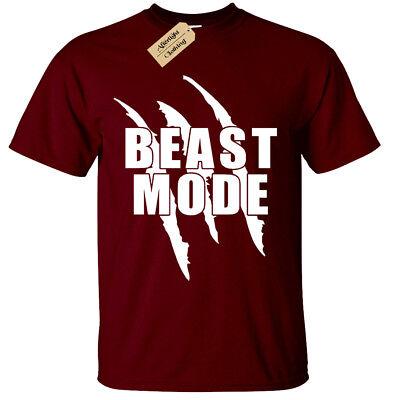 TRAIN HARD BEAST MODE ANIMAL MMA BODYBUILDING T-Shirt WORKOUT MEN CLOTHIN TOPG