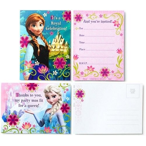 Frozen Invitations Invite Thank you Cards Envelopes Girls Birthday Party 8 Pack