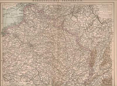 Karte NordÖstliches Frankreich, 1898 Orig.-lithographie Attraktive Designs;