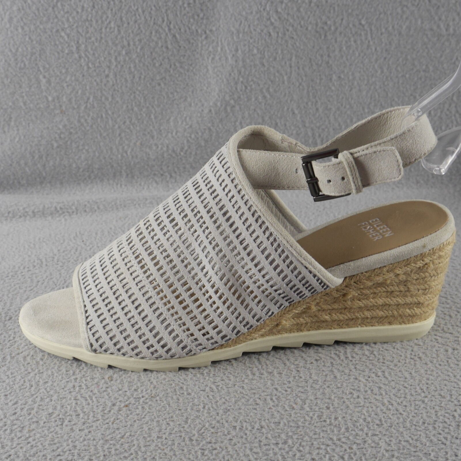 Eileen Fisher AURA Women's Suede Mesh Espadrille Slingback Jute Wedge Sandal ANB