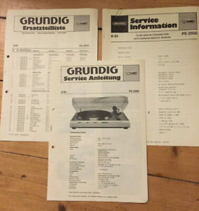 Grundig-PS-2500-plateau-service-manual-liste-des-pieces-amp-Tech-information-manuels