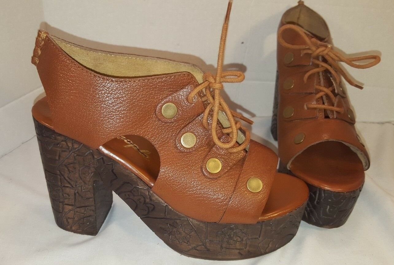 NEW ANTHROPOLOGIE FREE FREE FREE PEOPLE FARRAH LEATHER CLOG PLATFORM WEDGE SIZE US 9 39 8ddc5c