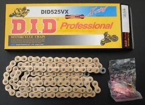 Chaine-DID-avec-arrets-525-VX-De-l-or-124-pas-y-fermeture-de-rivet