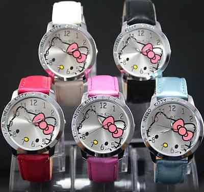New Cute Girl Boys Kids Faux Leather Cartoon Face Analog Quartz Wrist Watch Gift