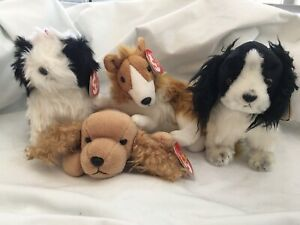 Ty Beanie Babies Poofie, Spunky, Cassie & Frolic Dogs  (set of 4) NWT