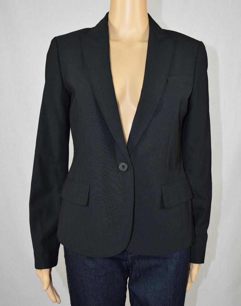 Anne Klein Femmes Noir Pic Revers Un Seul Bouton Veste Blazer 4
