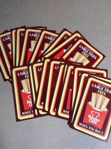 Group Of 20 Unused 1983 Burger Chef FREE FRIES Coupons FREE SHIPPING INV B19