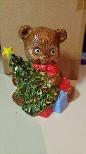 Vintage-Ceramic-Teddy-Bear-Christmas-Tree-Night-Light-Table-Lamp-1989