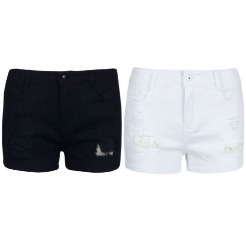 Da Donna con Pizzo Floreale Vintage Denim Strappato con effetto invecchiato Mini Shorts Hot Pants