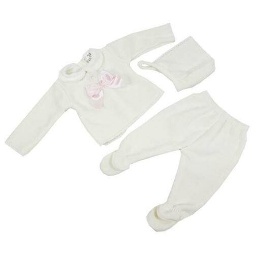 SPANISH KNITTED WHITE BEIGE UNISEX BOY GIRL 3 PC SET TOP TROUSERS HAT 1-3-6-9 BN
