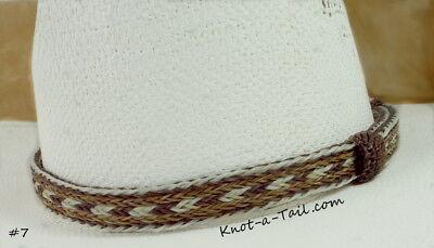 marron//blanc superbe 5 Strand bande de bonnet Chapeau de cow-boy crin de cheval Longmire