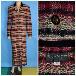 ST-JOHN-Couture-Red-Long-Jacket-M-L-8-10-Duster-Coat-Gold-Metallic-Black-Button