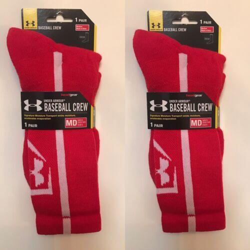 2 Paires Under Armour Men/'s Baseball Crew Chaussettes Rouge Medium M Neuf avec étiquettes