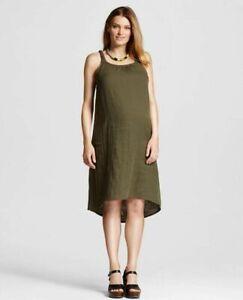 New Nwt Liz Lange Maternity Clothes Olive Green Braided Dress Sleeveless Size Xs Ebay