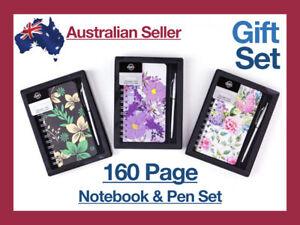 160pg Notebook Gift Set Pen Hard Cover Journal Paper Birthday