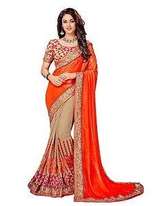 Indian Ethnic Designer Georgette Orange Emboridered Saree Sari D.No DPS1235