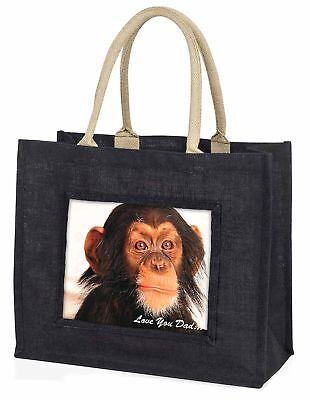 frecher Schimpanse' liebe Dich Papa' große schwarze Einkaufstasche WEIHNACHTEN