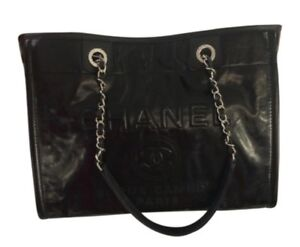 47bd107f918d Image is loading Authentic-Chanel-Deauville-Tote-Bag-Black-Leather