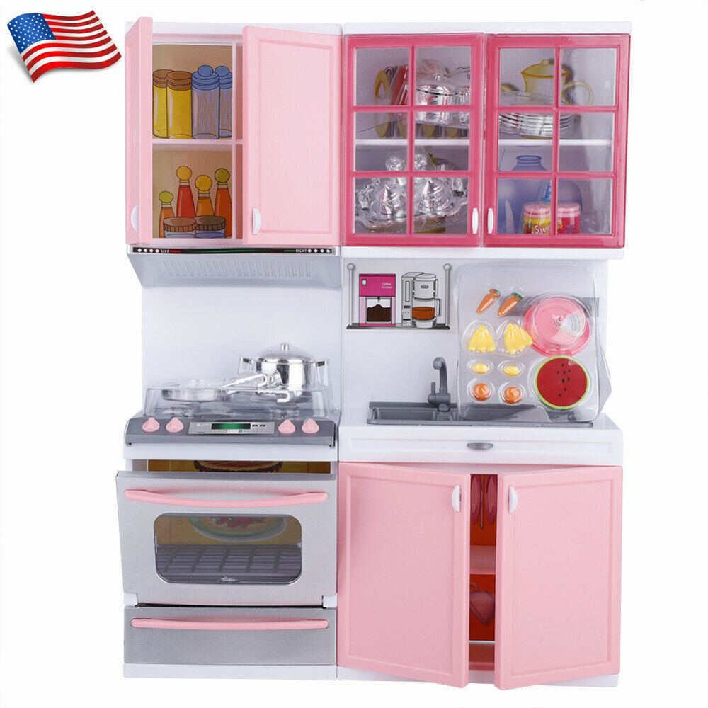 Kitchen Play Set Pretend Baker Kids Toy Cooking Playset Girls Playing House Gift Ebay