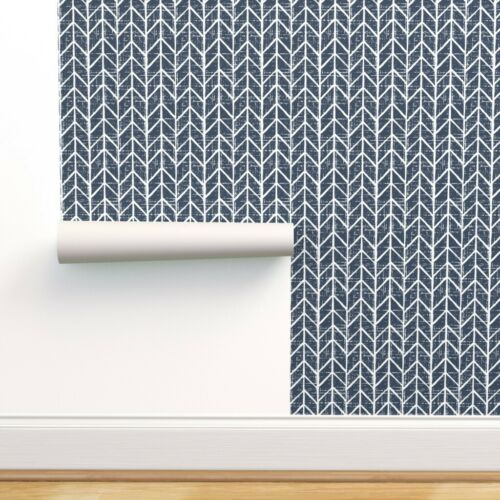 Removable Water-Activated Wallpaper Navy Chevron Navy Blue Chevron Navy Tribal