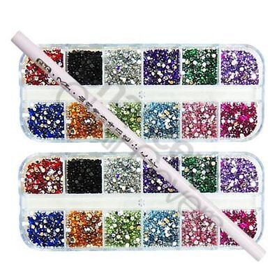 6000 PCS x 2mm RHINESTONES GEMS FOR NAIL ART DECORATION FREE PICKER PENCIL