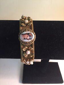 Florenza-Signed-Mesh-Cameo-Pearl-Floral-Bracelet-7-034-Long