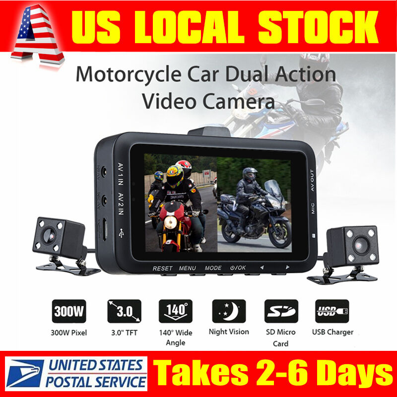 3'' 140° Waterproof Motorcycle Car Bike Dual Action Camera DVR Video Camcorder Featured