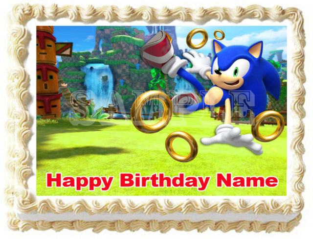 """EDIBLE Sonic the Hedgehog Birthday Cake Topper Wafer Paper Round 7.5/"""" uncut"""