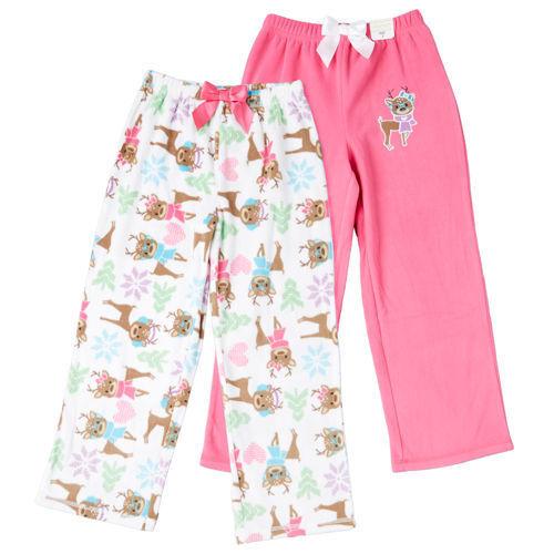 NEW St. Eve Girl's Cozy Fleece Elastic Waist Sleep Pants 2-pack Reindeer 7