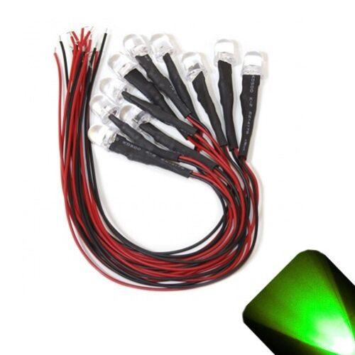 10 x Pre Wired 12v 10mm Pure Green LEDs Prewired 12 volt LED 11v 13v 14v 15v RC