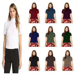Women-Ladies-Short-Sleeve-Roll-Polo-Neck-Thermal-T-Shirt-Top-Turtle-Neck-Top