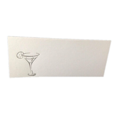 """50 Silver Martini Glass Tent Style White place cards 4.25/"""" x 1.75 folded"""