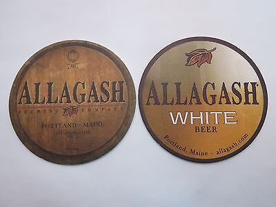 MAINE Craft Brewery BEER Bar COASTER ~ ALLAGASH Brewing Co White Ale ~ Portland