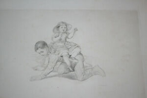 Antique etching, Albert Schindler, PLAYING CHILDS, ~1857