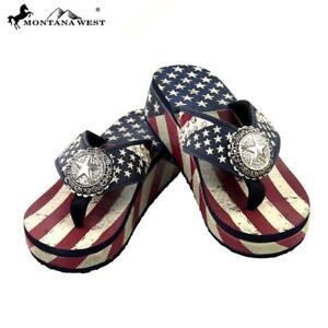 4d539a415cdb7 Montana West Women Flip Flops American Pride Flag Star Concho Wedge ...