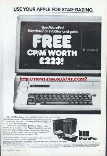 """MicroPro WordStar InfoStar Apple /""""Vintage Software/"""" 1983 Magazine Advert #5057"""
