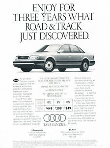 1992 Audi 100 Lease Classic Vintage Advertisement Car Ad J13 Ebay